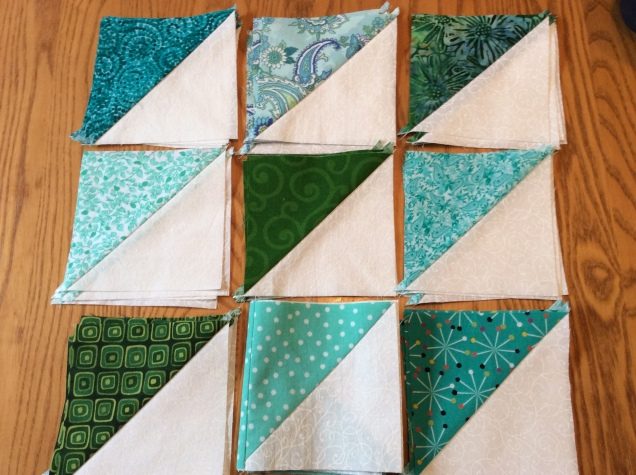 green triangles for quilting