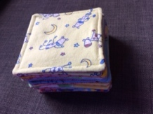 Stack of memory game fabric tiles