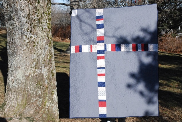 Back of star quilt. Pieced modern cross back