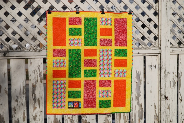Front of yellow coin quilt