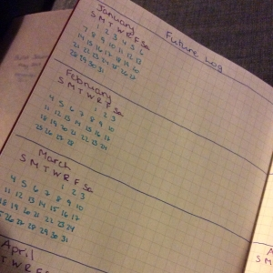 Future log with calendar in bullet journal